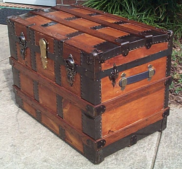 restored antique flat top trunk for sale #541