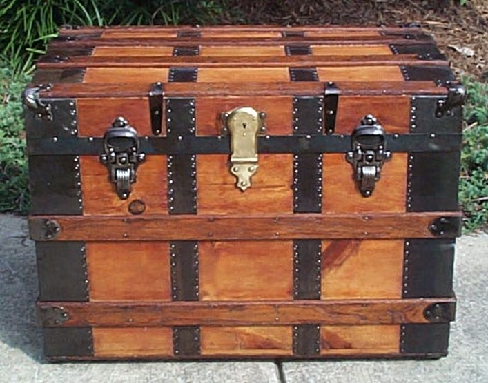 restored flat top victorian era antique trunk 541