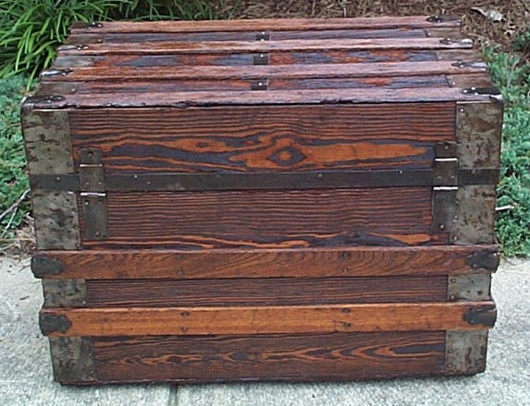 restored antique flat top trunk for sale #542