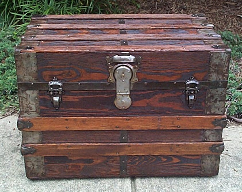 restored flat top victorian era antique trunk 542