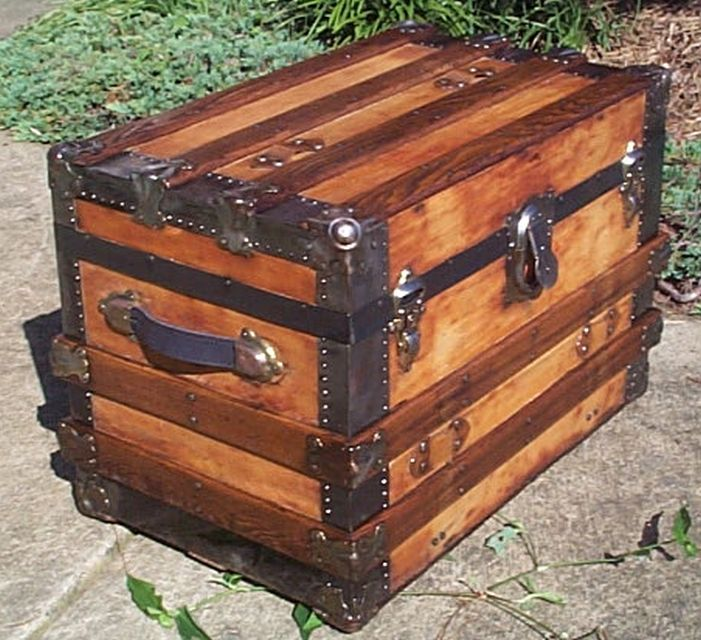 restored antique flat top trunk for sale #543