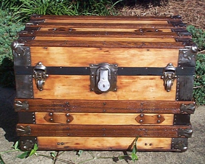restored flat top victorian era antique trunk 543