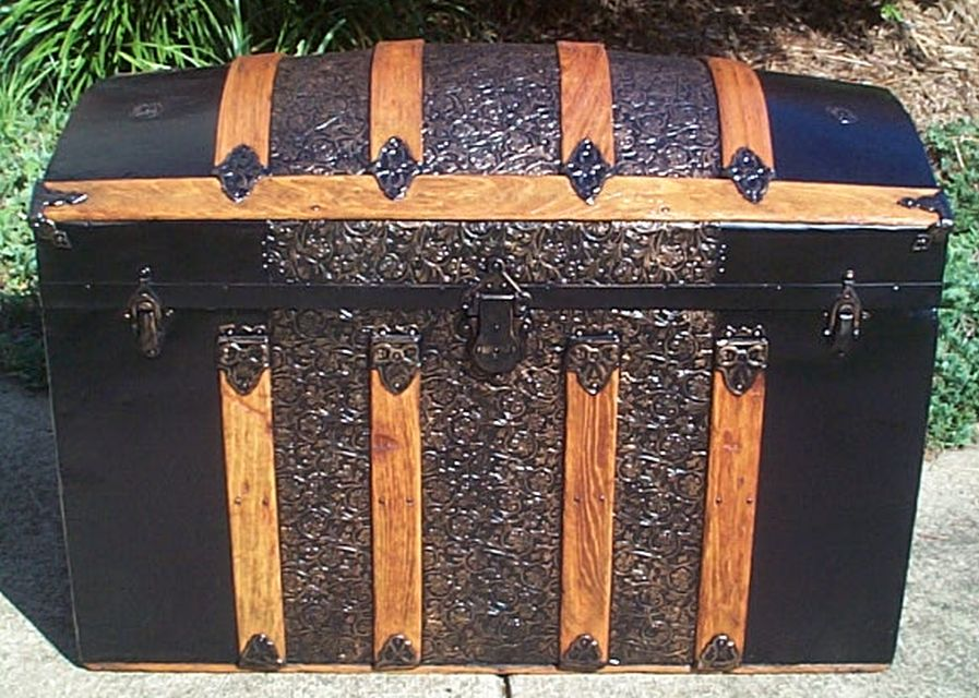 restored dome top victorian era antique trunk 544