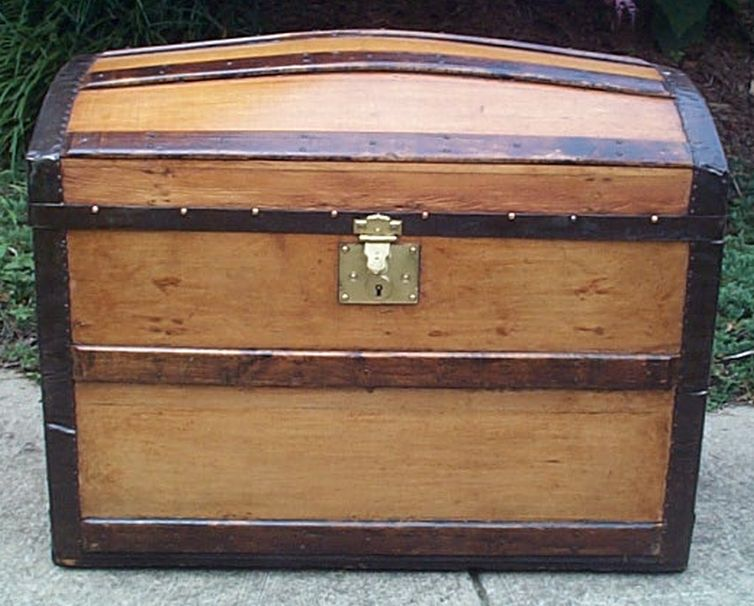 restored dome top victorian era antique trunk 545
