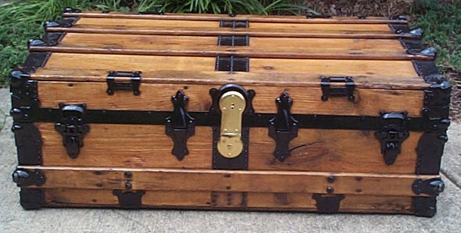restored low profile flat top victorian era antique trunk 546