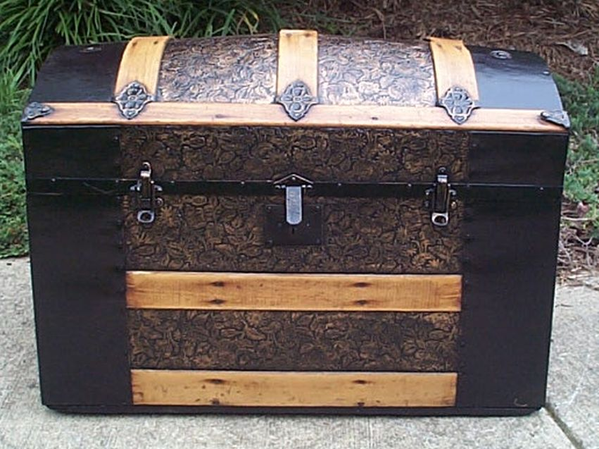 restored dome top victorian era antique trunk 547