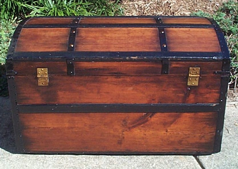 restored antique all wood dome top trunk for sale #549