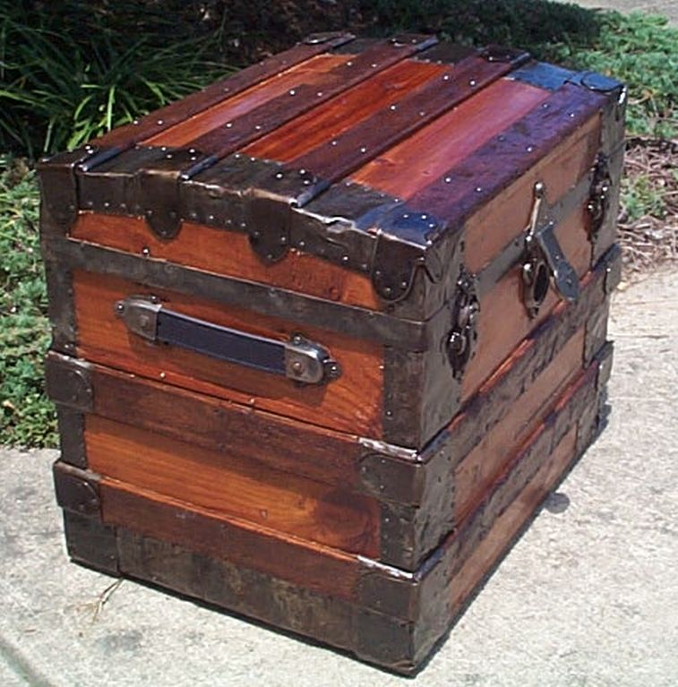 restored antique all wood roll top trunk for sale #550