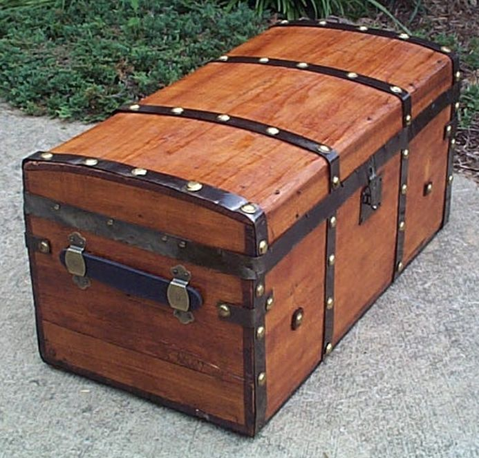 restored antique all wood civil war era jenny lind style flat top trunk for sale #551