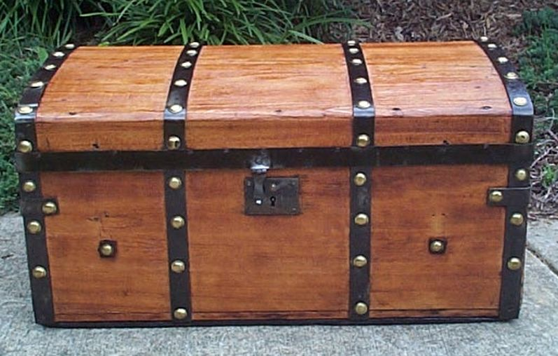 restored all wood flat top victorian civil war era antique trunk 551