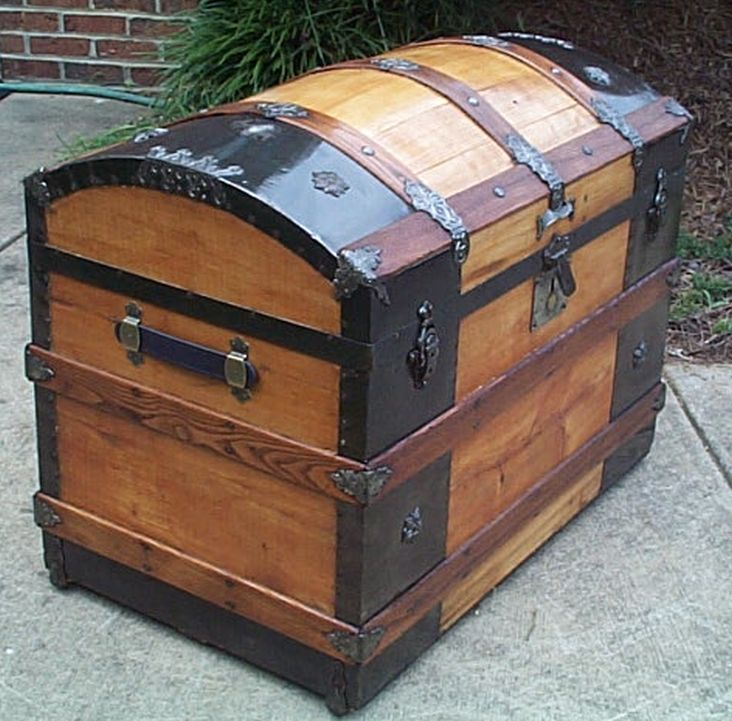 restored antique all wood dome top or humpback trunk for sale #552