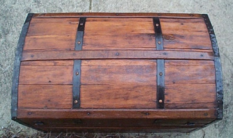 restored antique all wood dome top or humpback trunk for sale #553 perfect as a navy shadow box idea