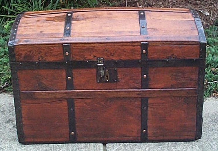 restored all wood humpback dome top victorian era antique trunk 553