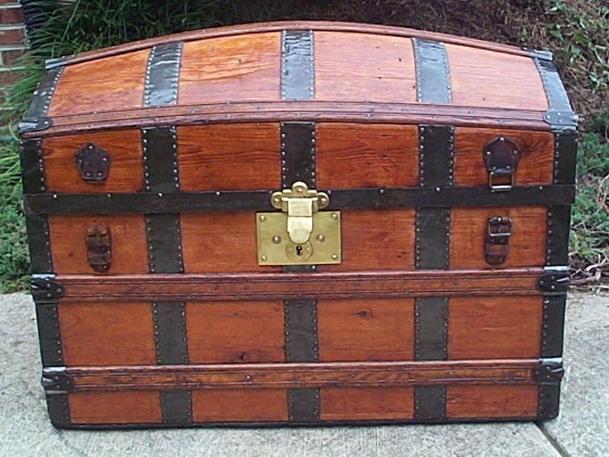 restored all wood humpback dome top victorian era antique pirate chest trunk 554