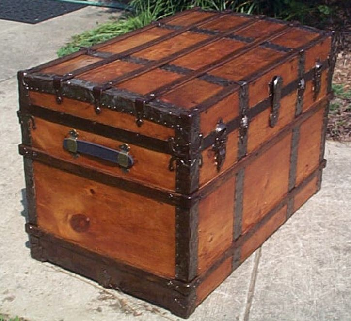restored all wood flat top victorian navy retirement shadow box idea antique pirate chest trunk 555