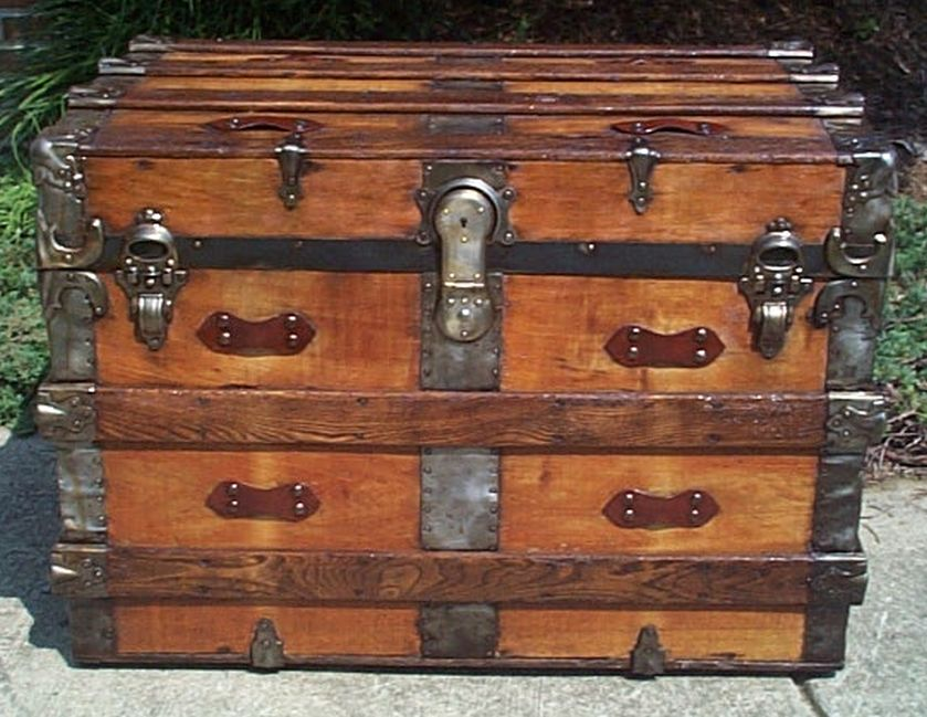restored all wood flat top victorian military retirement shadow box idea antique pirate chest trunk 556