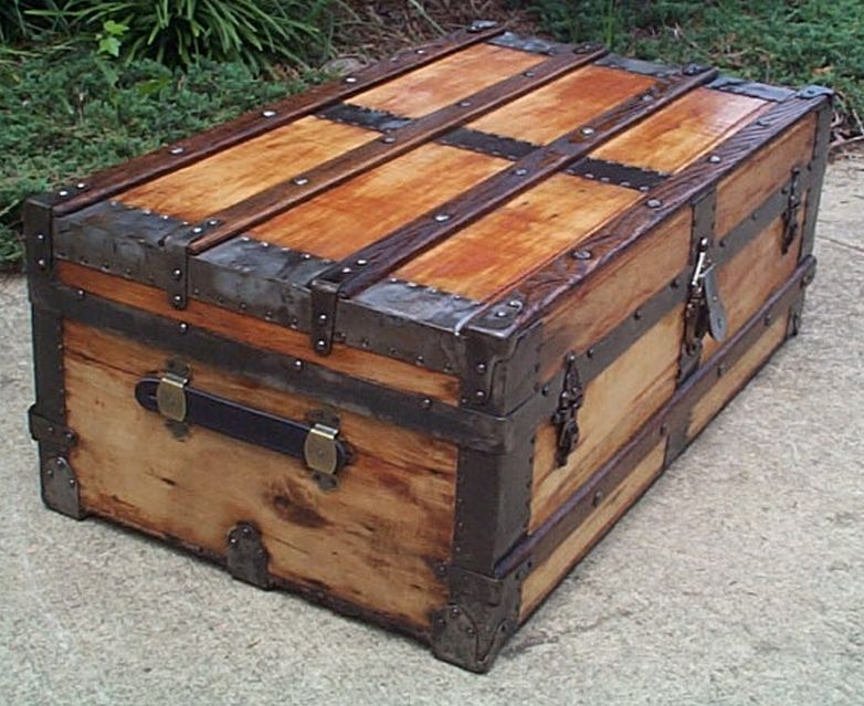 restored all wood flat top low profile victorian us army retirement gift antique trunk 557