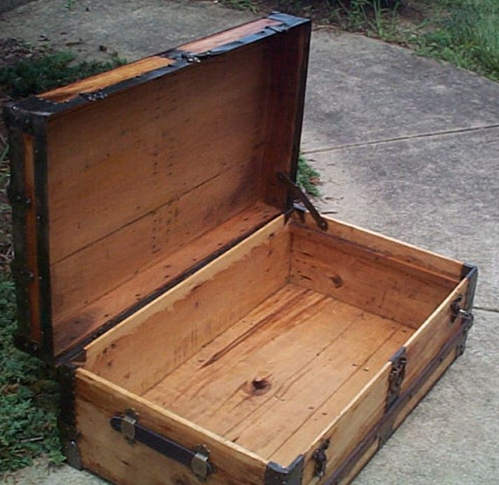 restored all wood flat top low profile us army retirement shadow box idea antique trunk 557