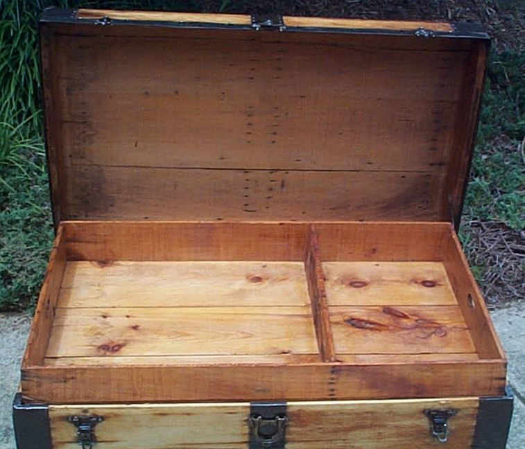 restored all wood flat top us army retirement shadow box idea antique trunk 557