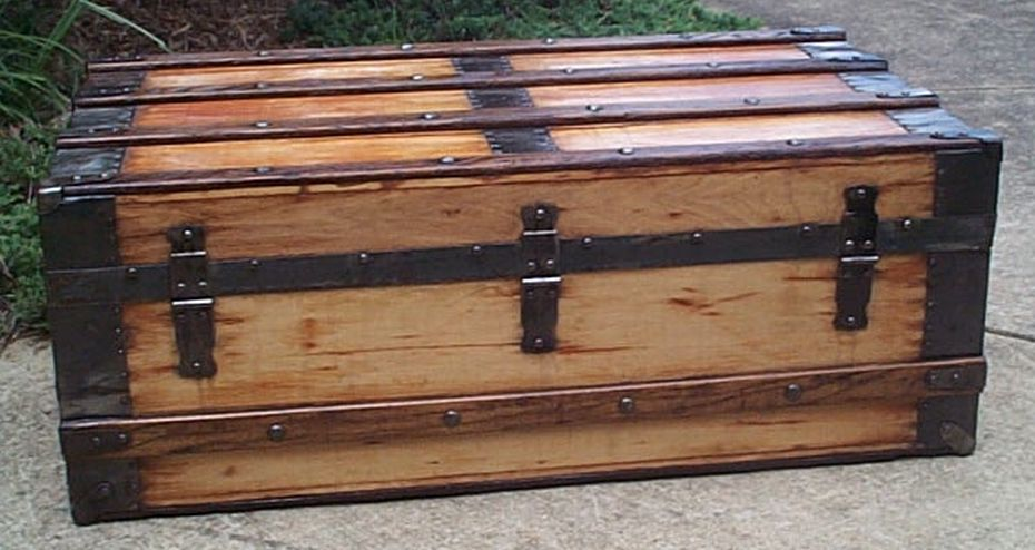 restored all wood flat top low profile victorian us army retirement shadow box trunk 557