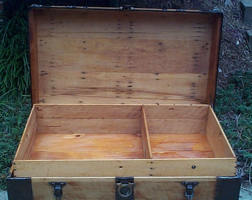 restored all wood flat top us air force retirement shadow box antique trunk 558