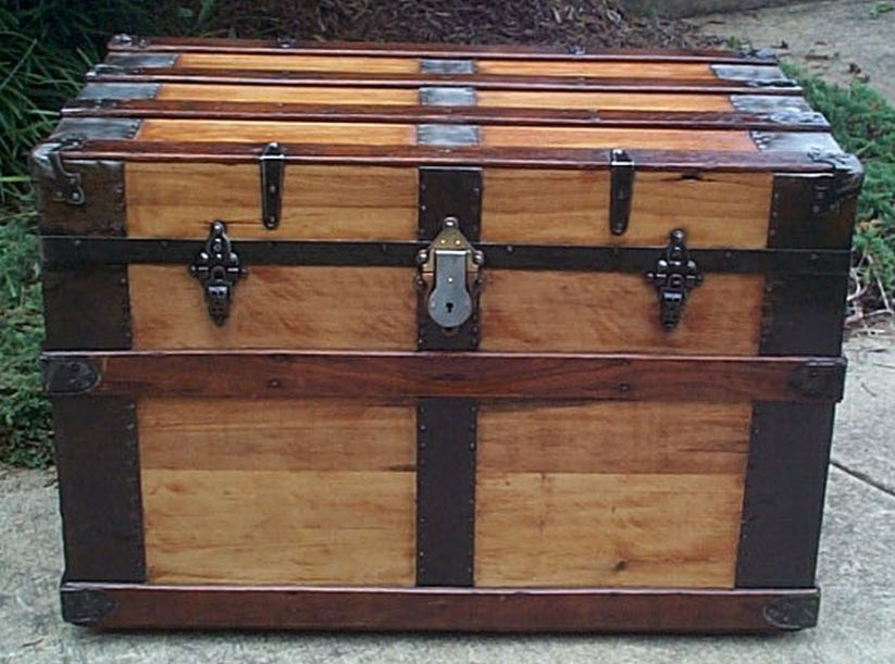 restored all wood flat top victorian air force retirement shadow box idea antique Steamer trunk 558