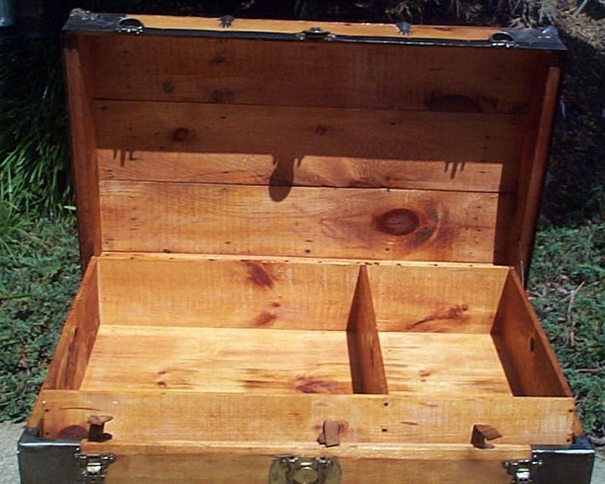 restored all wood roll top us navy retirement shadow box idea antique trunk 559