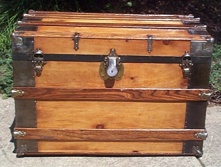 restored all wood roll top victorian us navy retirement shadow box idea antique Steamer trunk 559