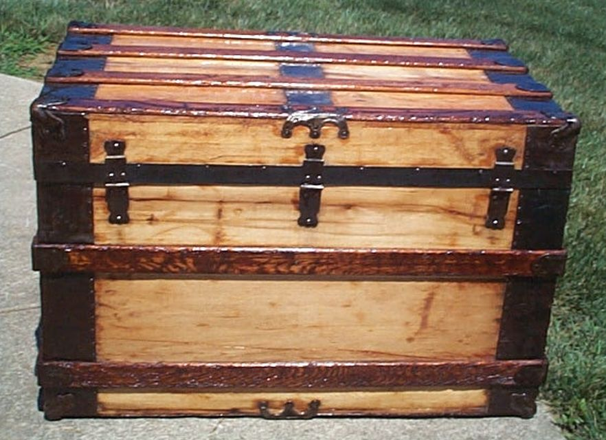 restored all wood flat top usmc marine retirement shadow box idea antique trunk 560