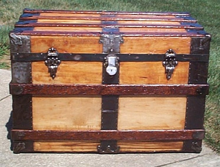 restored all wood flat top victorian usmc marine retirement shadow box idea antique trunk 560