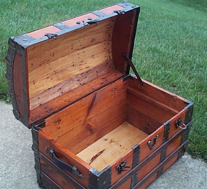 restored all wood dome top us airforce retirement shadow box idea antique trunk 561
