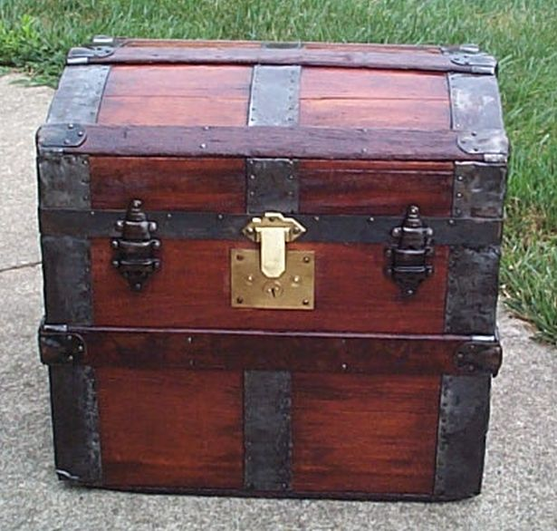 restored all wood roll top victorian us army retirement shadow box idea antique trunk 562