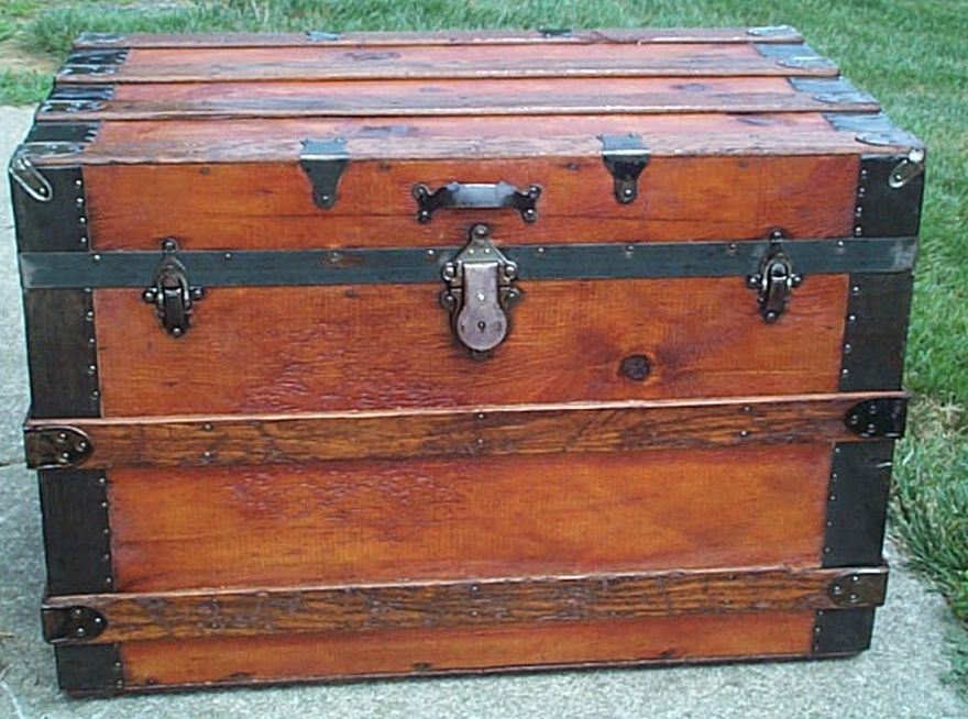 restored all wood roll top navy retirement gift shadow box idea antique trunk 563