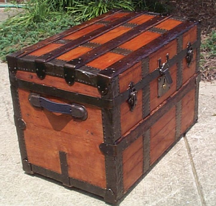 restored all wood roll top shadow box idea antique trunk for sale 564