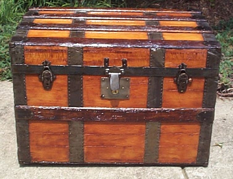 restored all wood roll top shadow box idea antique trunk 564