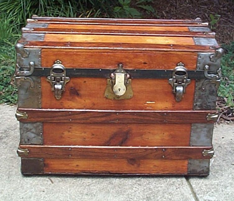 restored all wood roll top antique trunk for sale 565