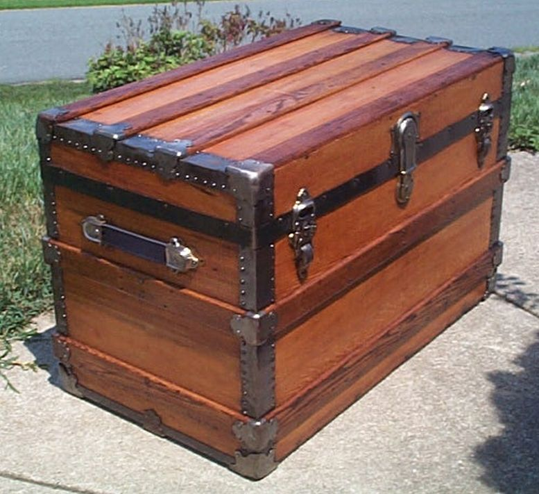 restored all wood flat top antique steamer trunk for sale 566