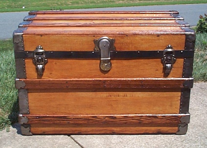 restored all wood flat top shadow box idea antique trunk 566