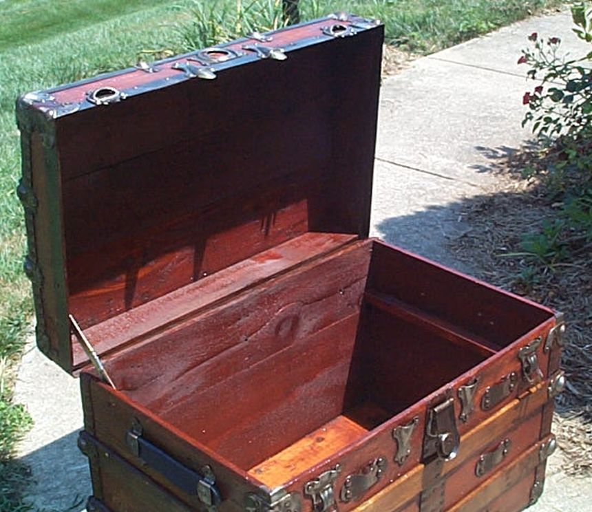 restored all wood Roll top antique steamer trunk for sale 567
