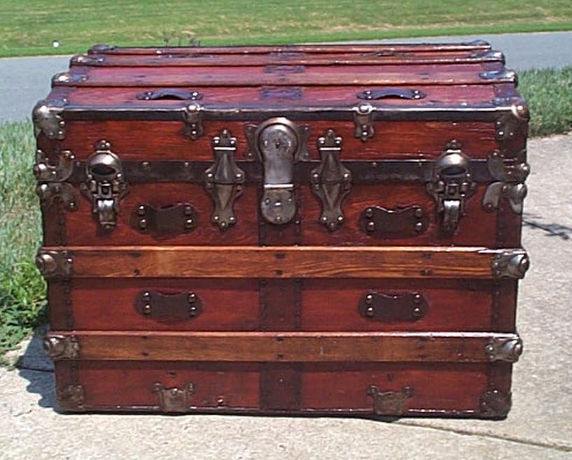 restored all wood flat top steamer trunk shadow box idea antique trunk 567