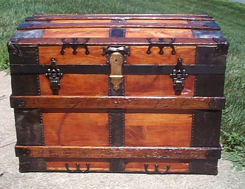 restored all wood roll top steamer trunk shadow box idea antique trunk 568