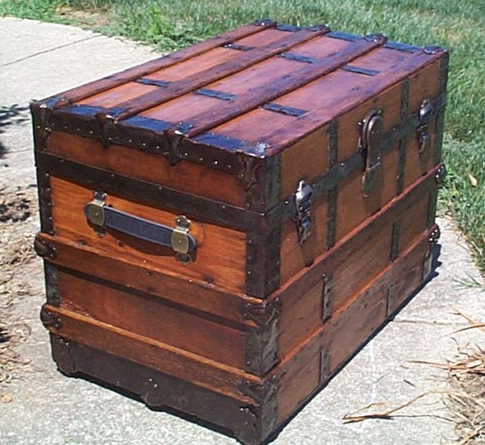 restored all wood flat top antique steamer trunk for sale 569