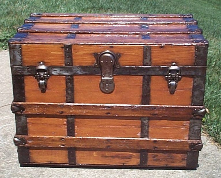 restored all wood flat top steamer trunk shadow box idea antique trunk 569