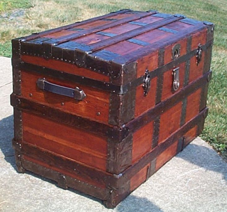 restored all wood roll top antique trunk for sale 570