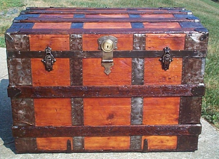 restored all wood roll top shadow box idea antique trunk for sale 570