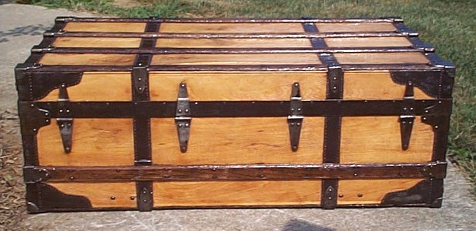 restored all wood low profile top antique trunk for sale 571