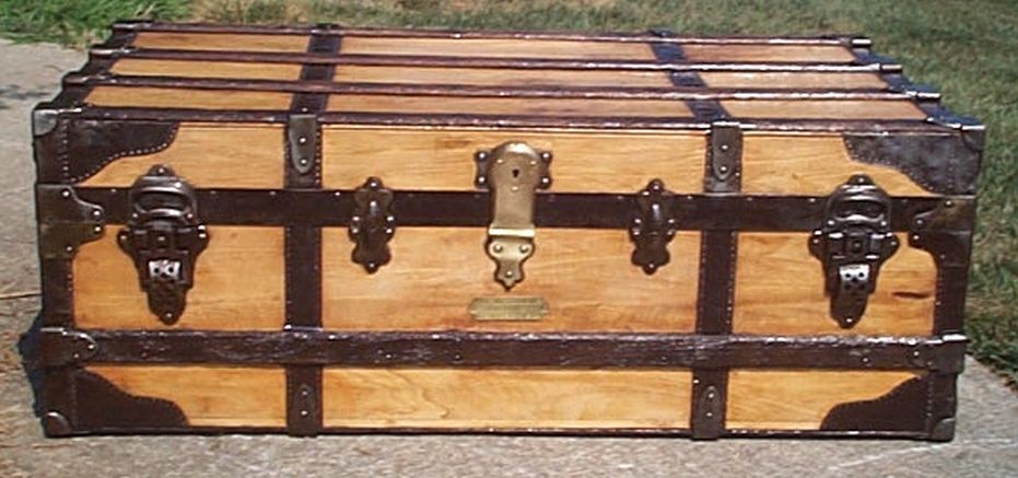 restored all wood low profile flat top antique steamer trunk for sale 571