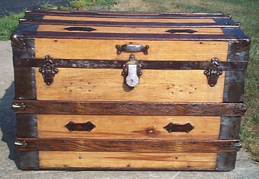 restored all wood roll top shadow box idea antique trunk for sale 572