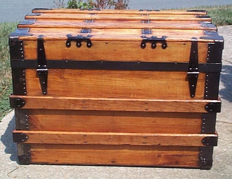 restored all wood roll top antique trunk for sale 573