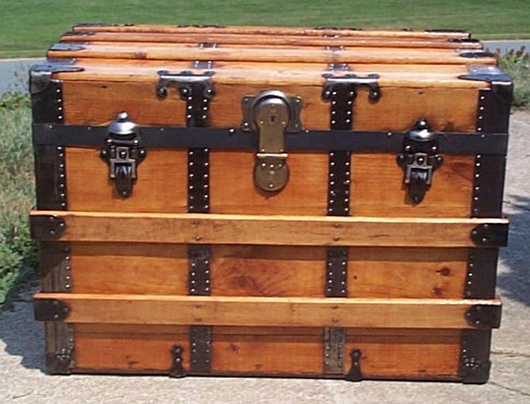 restored all wood roll top army shadow box idea antique trunk for sale 573